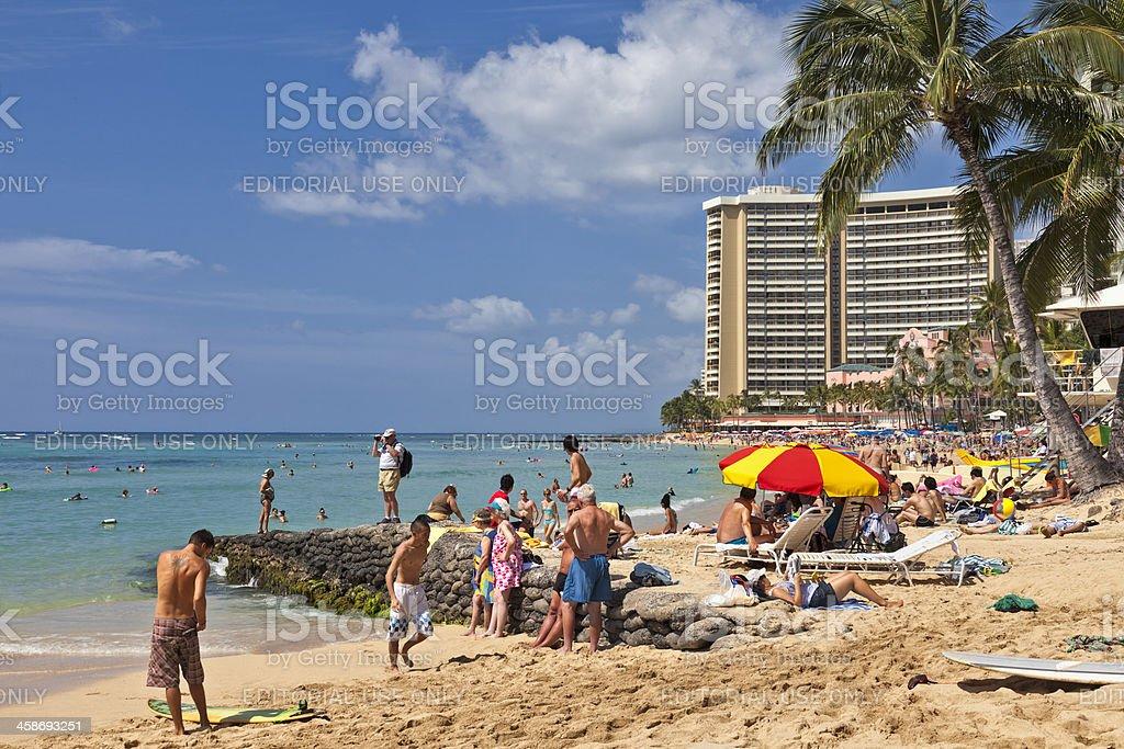 Day at Waikiki Beach stock photo