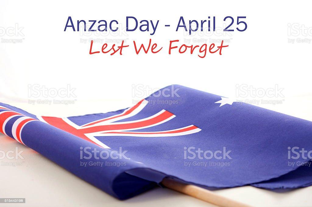 ANZAC Day Australian Folded Flag stock photo