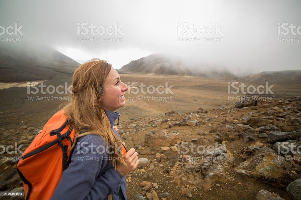 Day hike in New Zealand stock photo