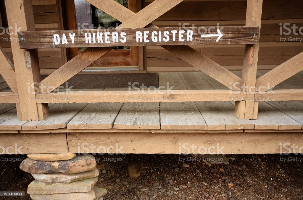 Day  hikers register arrow sign stock photo