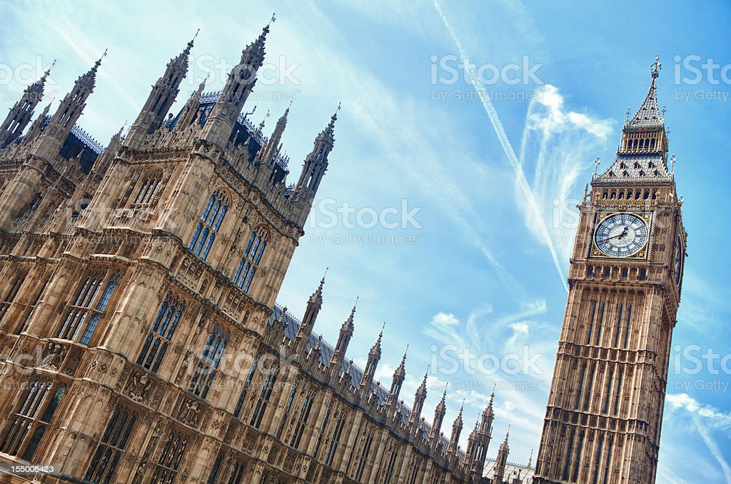 day London westminster houses of parliament and big ben royalty-free stock photo