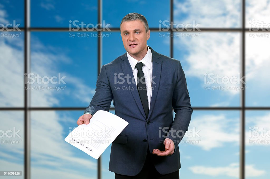 Day of active businessman. stock photo