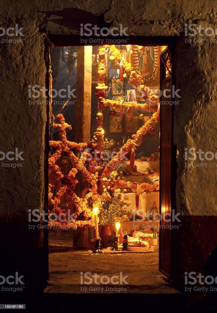 Day of the Dead altar,  Janitzio, Michoacan, Mexico stock photo
