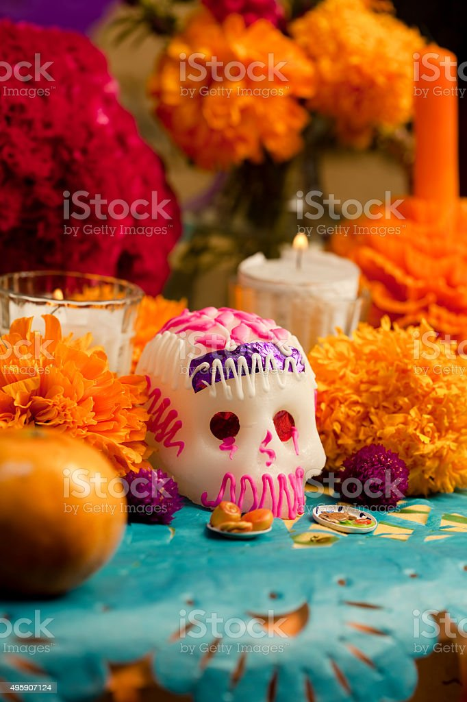 Day of the Dead altar with sugar skull stock photo