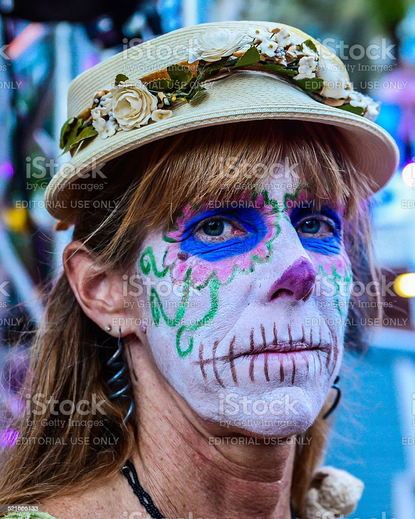 Day of the Dead Blond Woman in a Hat stock photo