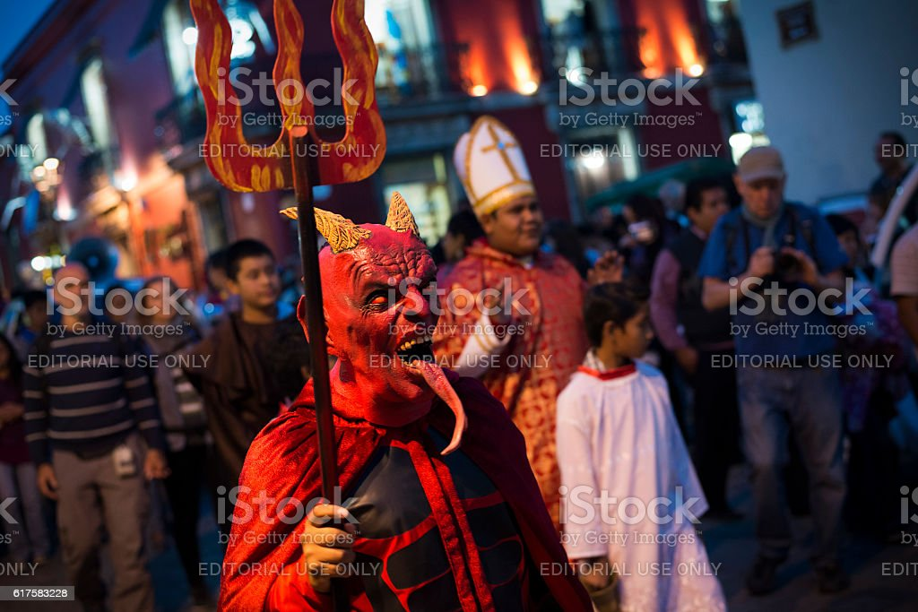 Day of the Dead costumes in Oaxaca, Mexico stock photo