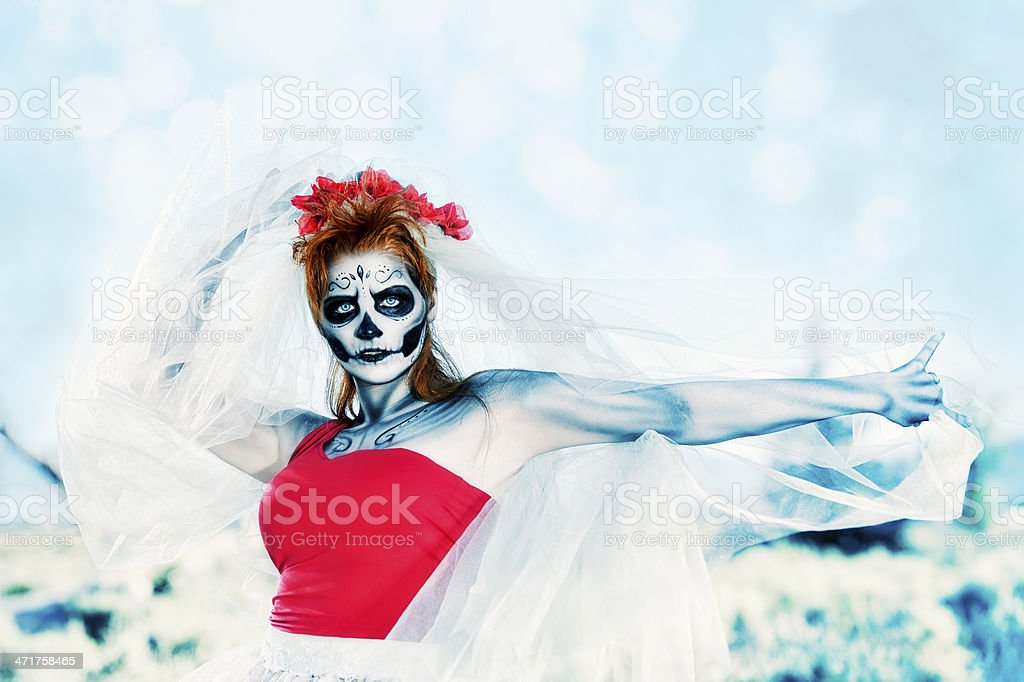 Day Of The Dead Dancing Woman stock photo