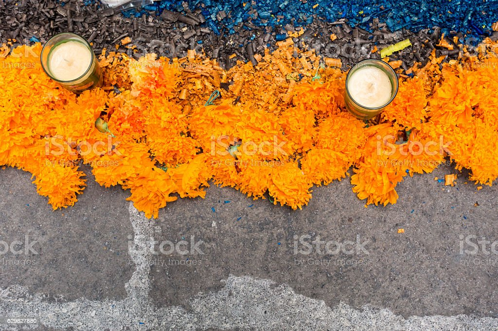 Day of the Dead Marigold Flower, Blue Flakes Candle Decorations stock photo