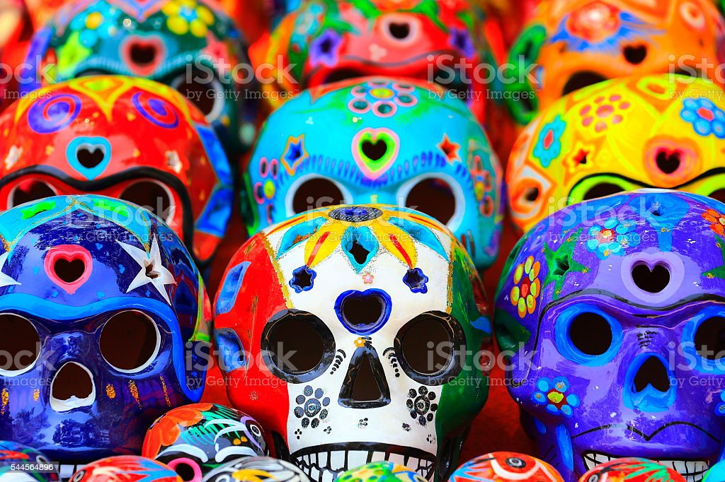Día de Muertos: Mexican Calaveras, skulls pattern, Mexico City culture stock photo