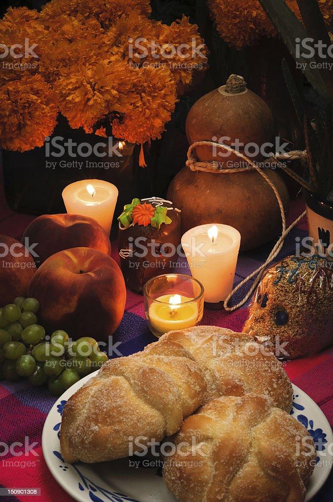 Day of the dead offering altar (Dia de Muertos) stock photo