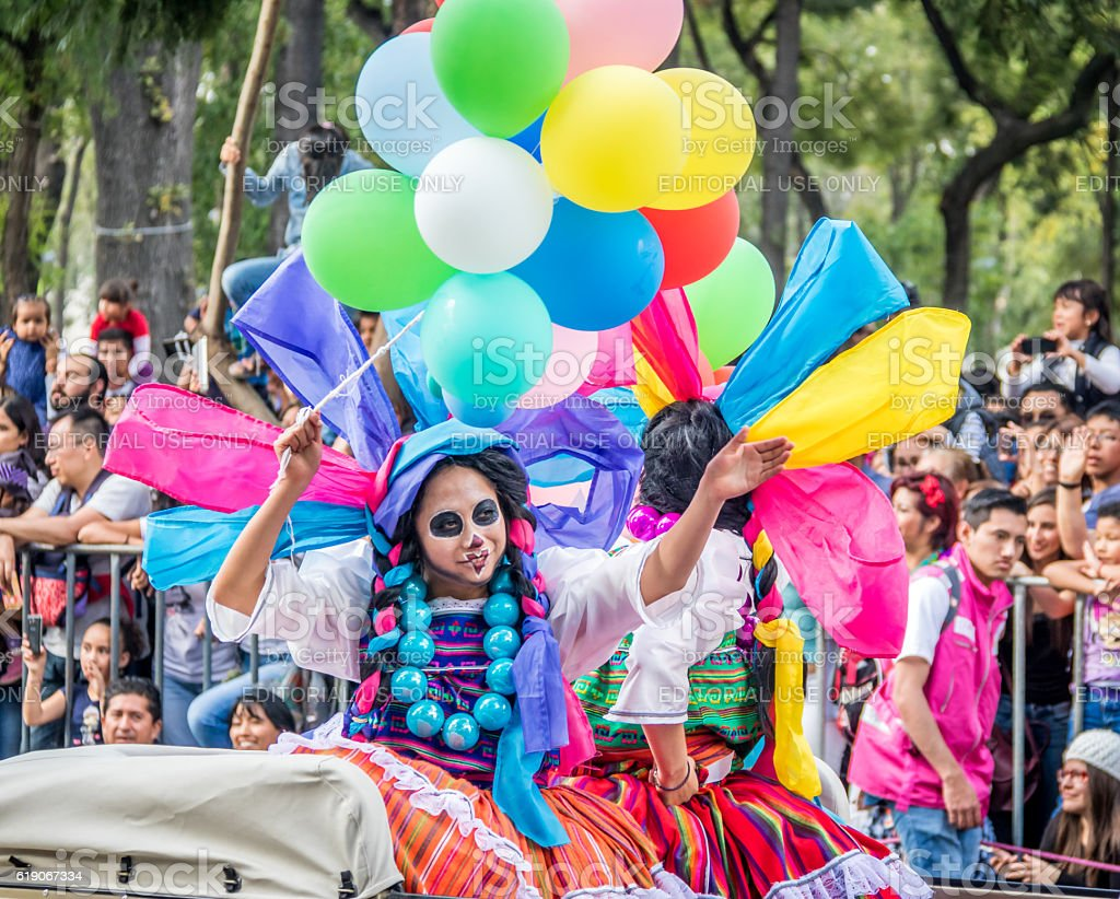 Day of the dead parade in Mexico city stock photo
