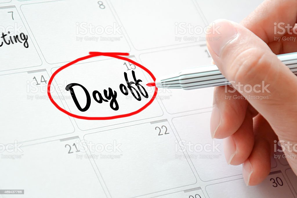 Day off text on the calendar ( or desk planner) stock photo