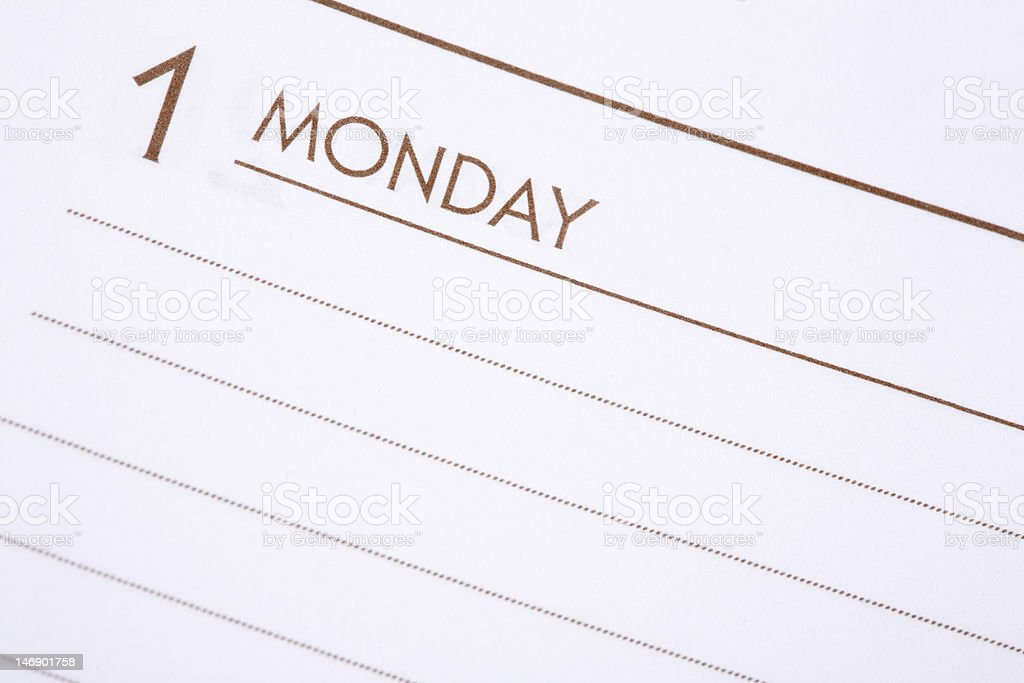 Day One Monday royalty-free stock photo