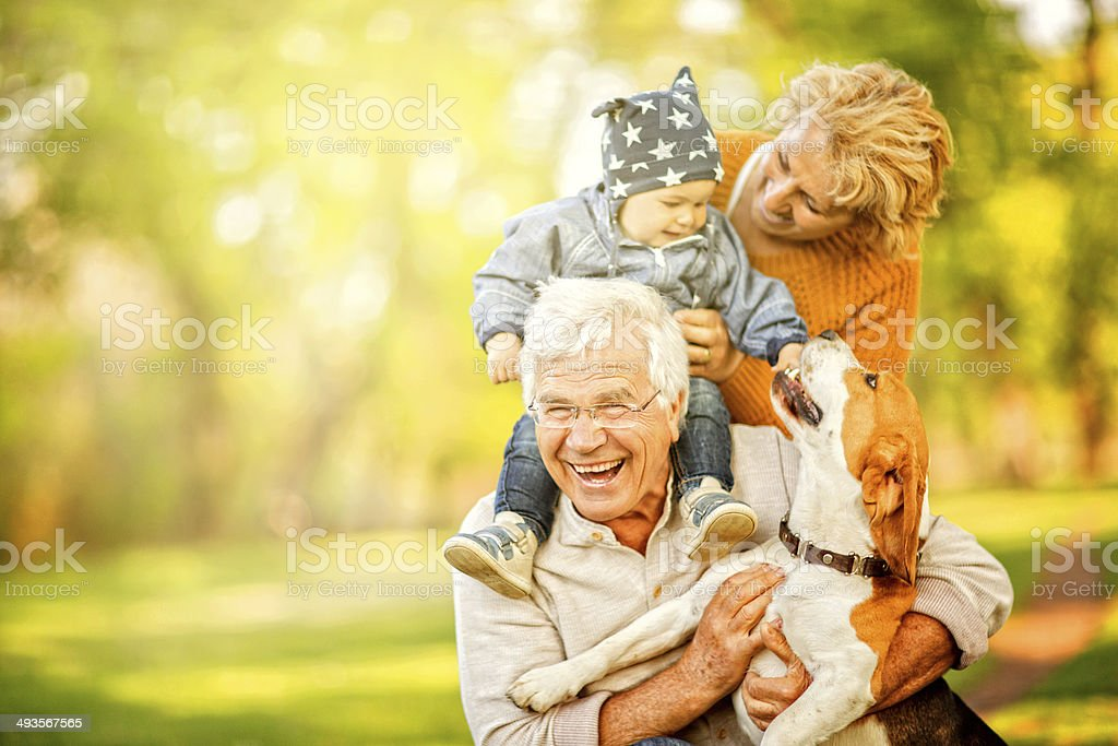 Day out with grandma and grandpa stock photo