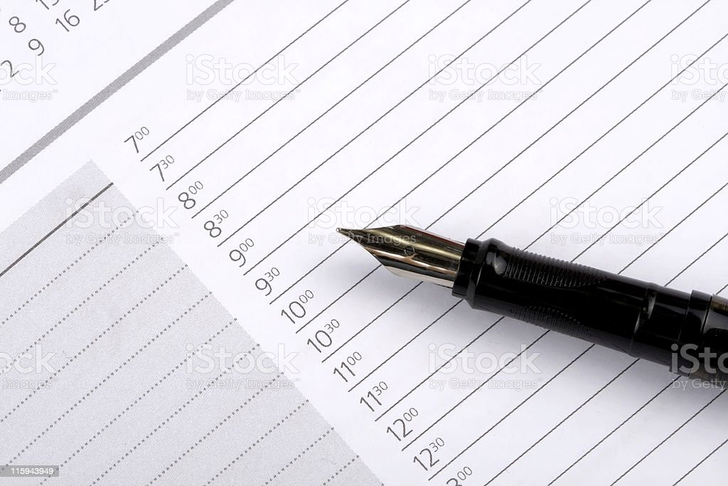 Day planner page. stock photo