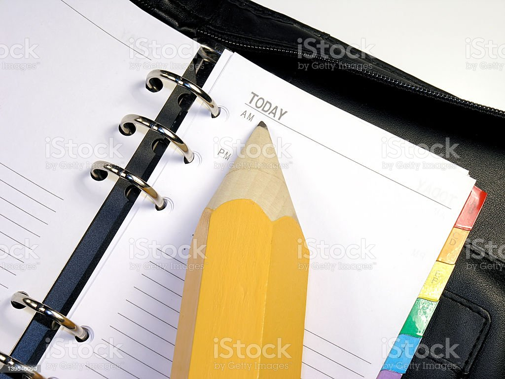 Day Planner & Pencil stock photo