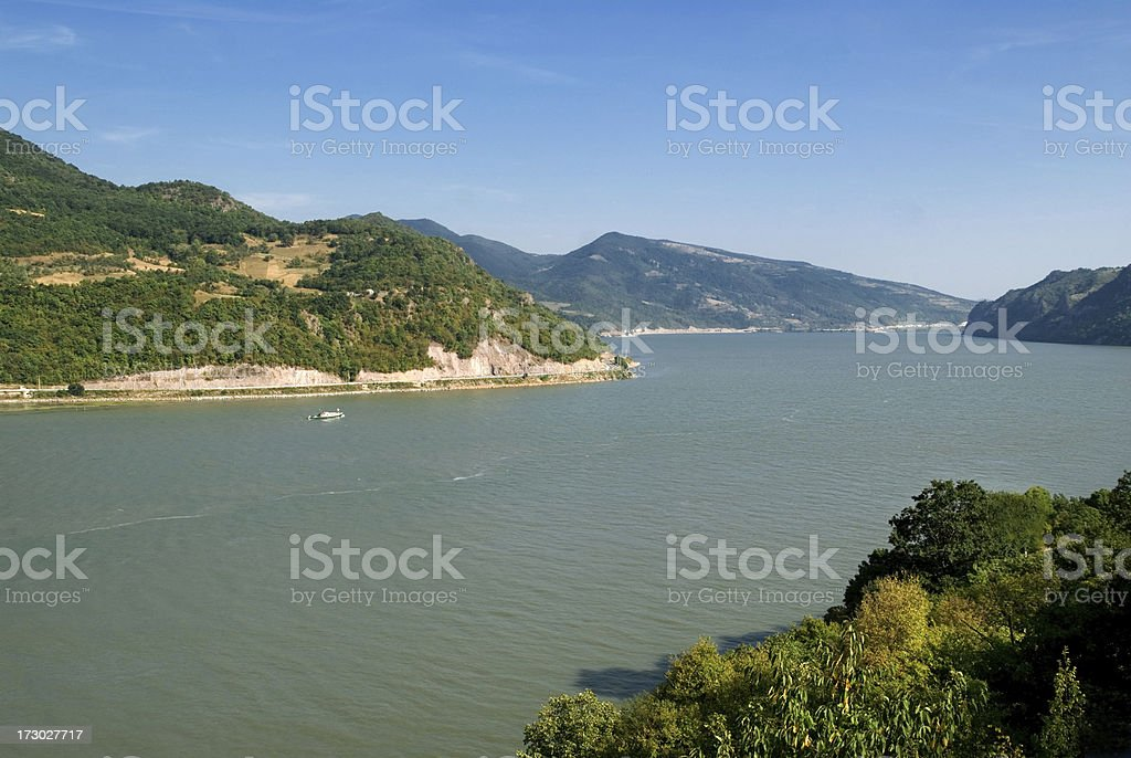 Day shot of the River Danube in the Djerdap canton, Serbia royalty-free stock photo