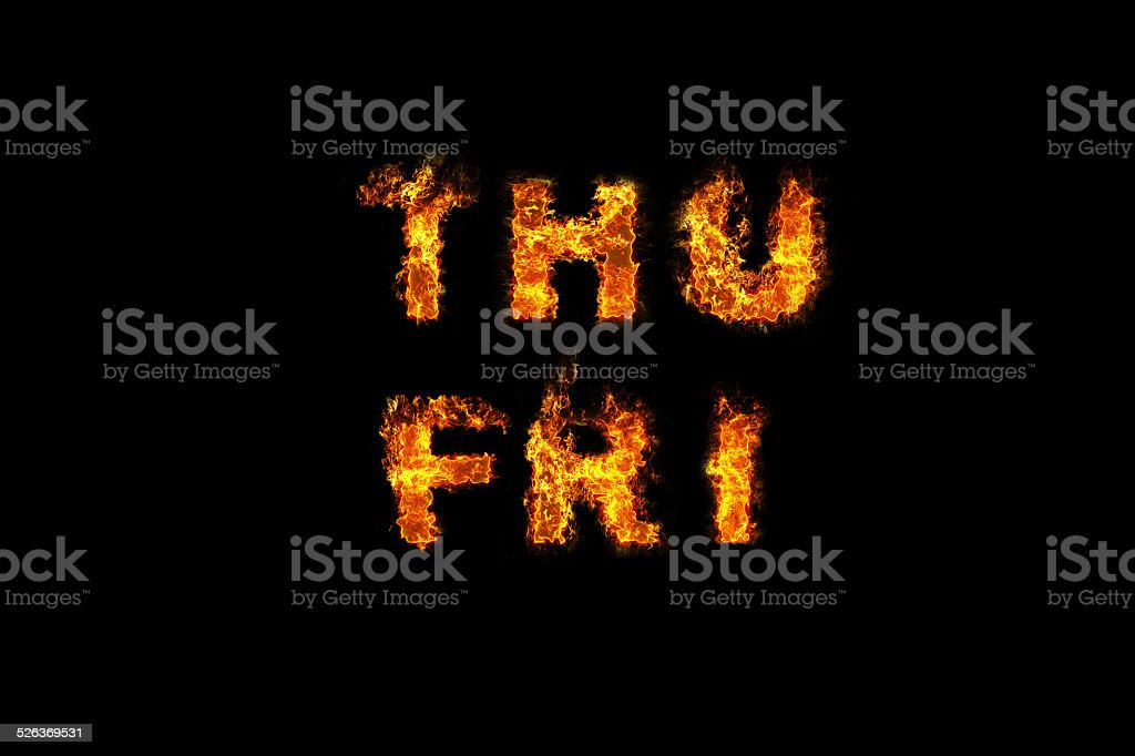 Day text on fire stock photo