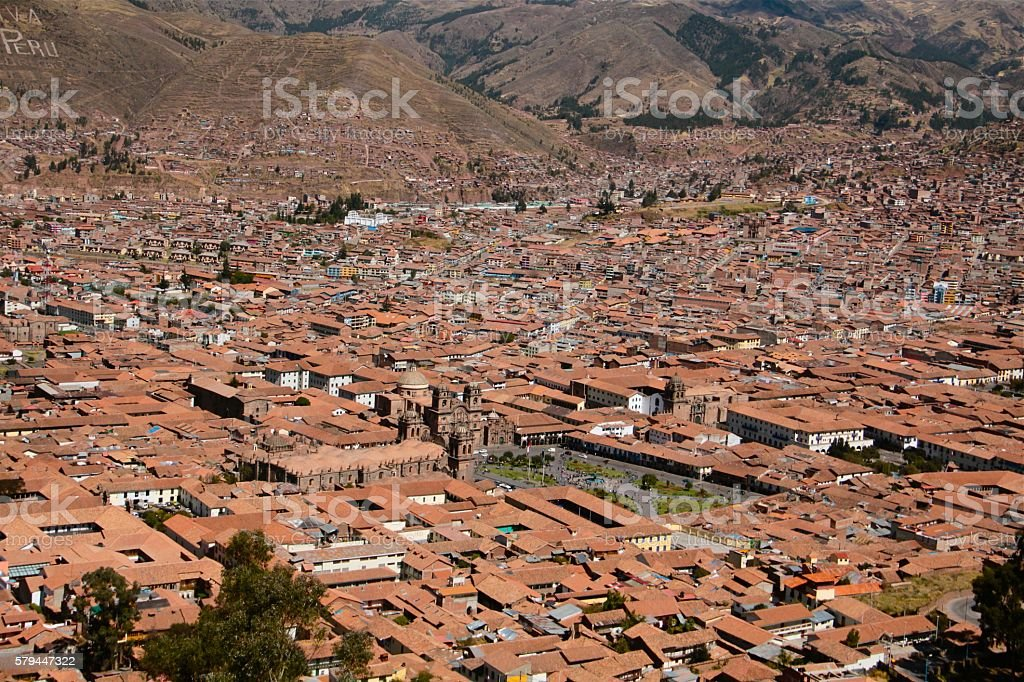 Day time aerial view Central Square Cusco and nearby surroundings stock photo