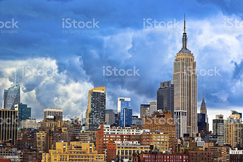 Day time view of Manhattan, New York City skyline stock photo