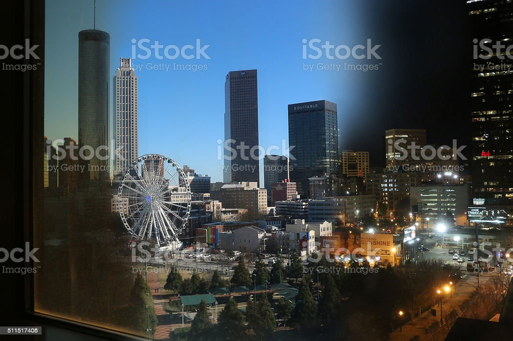 Day to Night Atlanta stock photo