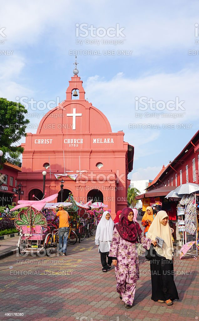 Day view of Christ Church in Malacca stock photo