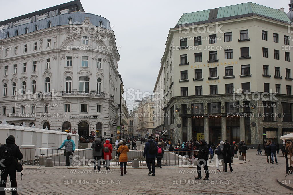 Day view of Michaelerplatz in winter season stock photo