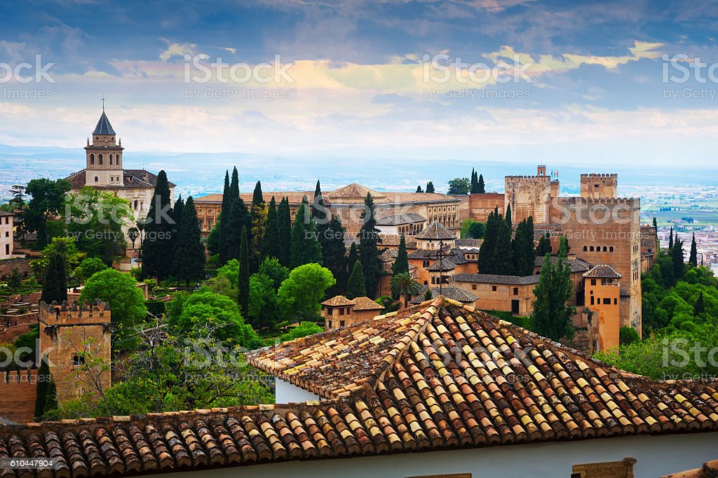 Day view to   Alhambra.  Granada stock photo