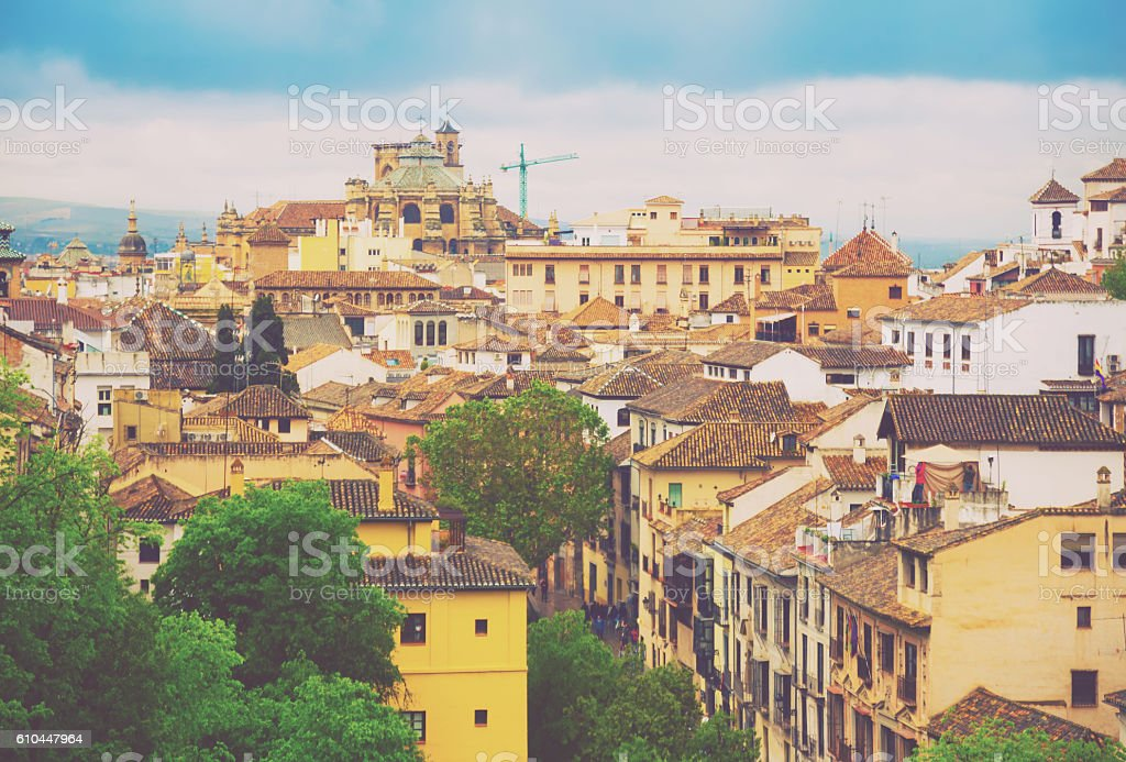 Day view to old part Granada stock photo
