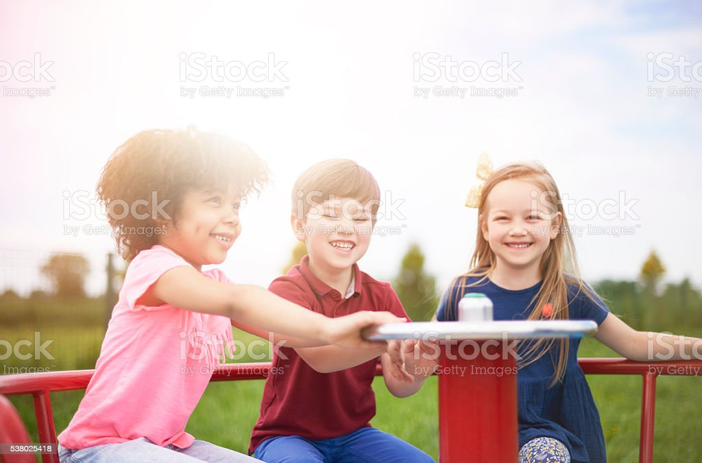 Day with friends on the playground stock photo