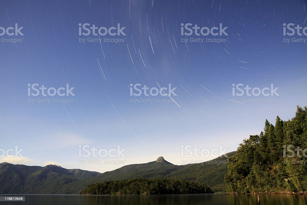 Day with stars. Startrail in south patagonia, argentina. royalty-free stock photo