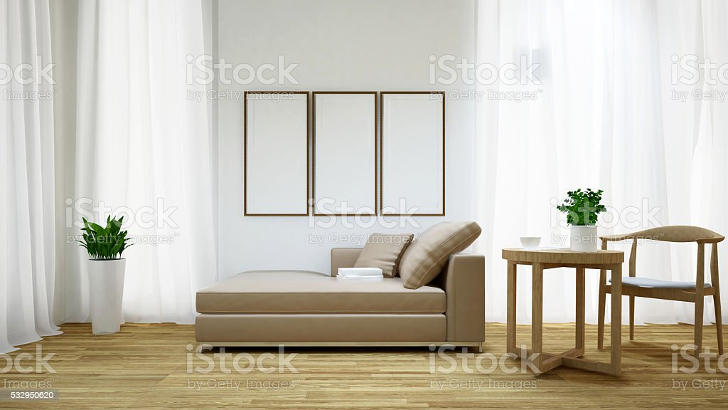 Daybed and coffee table on wooden floor / 3D rendering stock photo