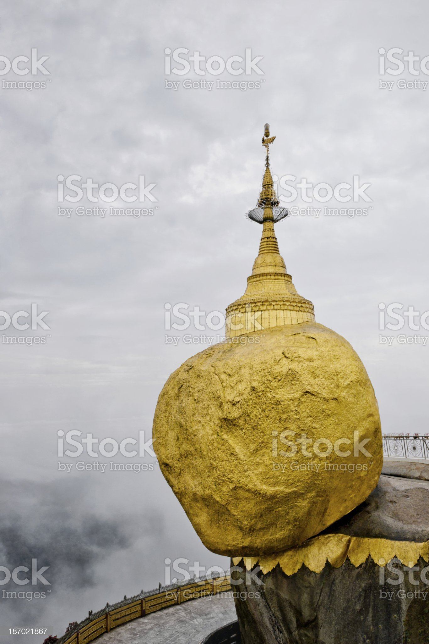 Daybreak at the Golden Rock royalty-free stock photo