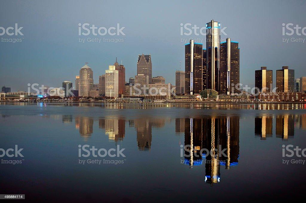 Daybreak Detroit Skyline November 2015 stock photo