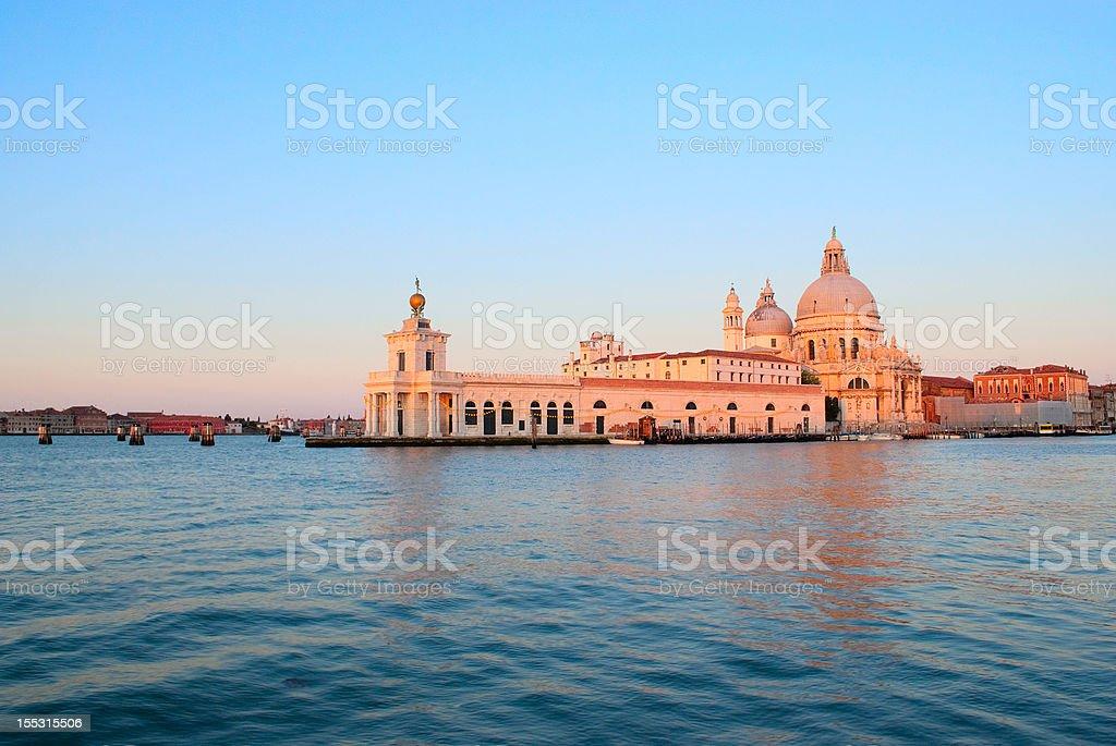 Daybreak in Venice. The church of Santa Maria della Salute stock photo