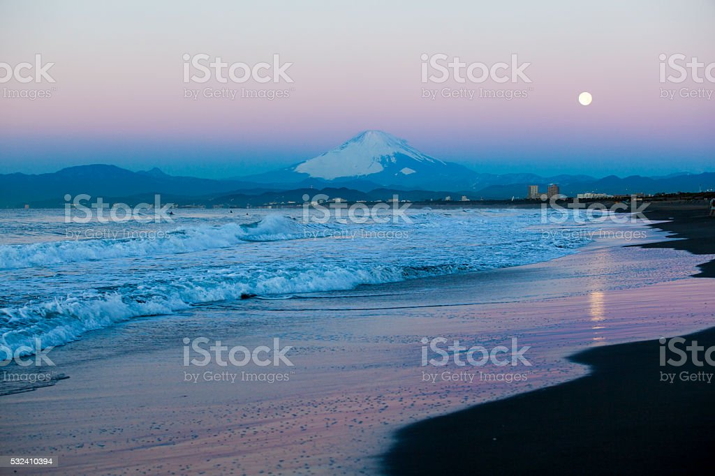 Daybreak moon and Mt Fuji stock photo