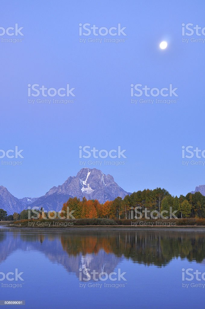 Daybreak Oxbow Bend in The Grand Tetons. royalty-free stock photo