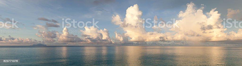 Daybreak seaside panorama stock photo