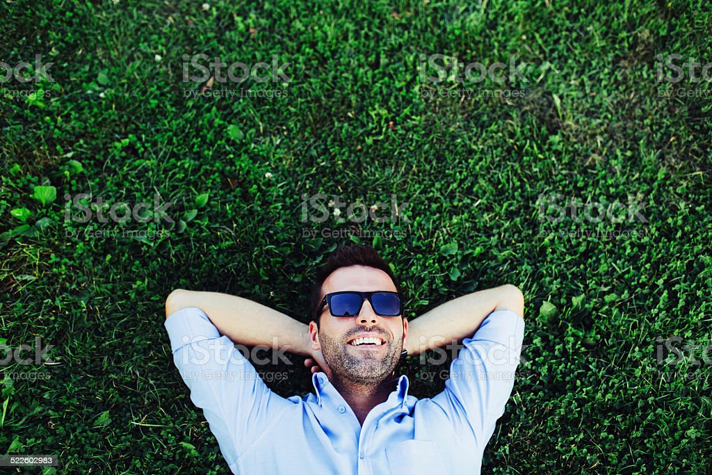 Daydreamer on duty stock photo