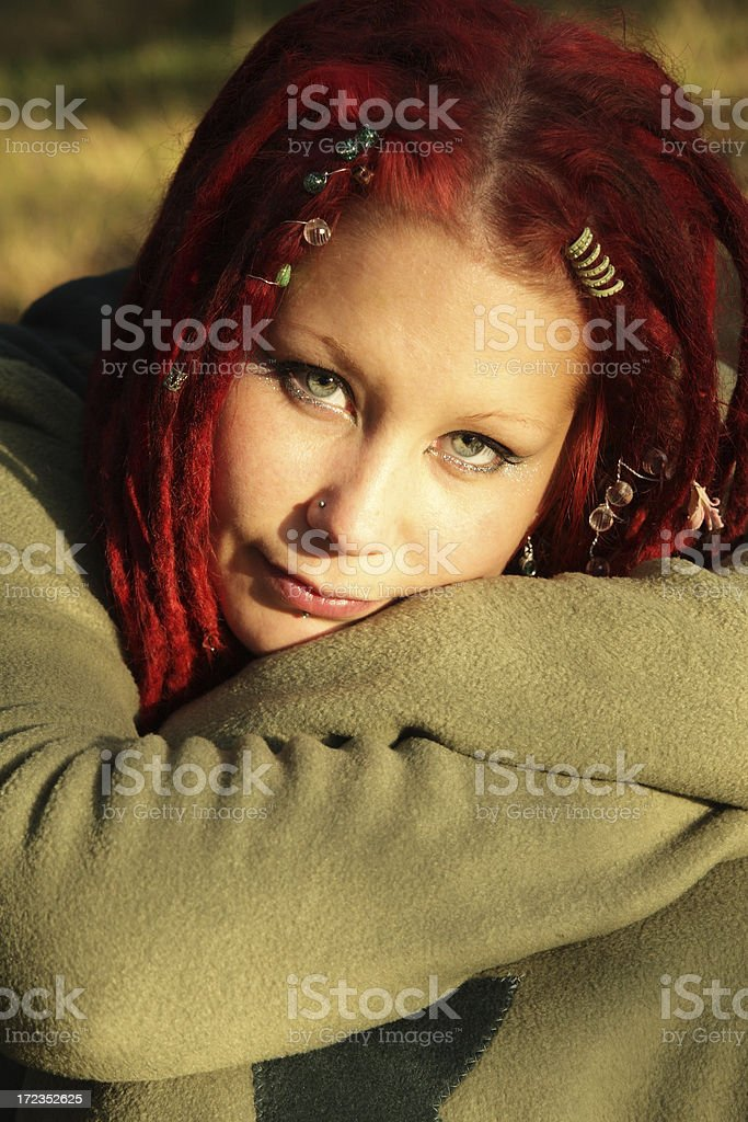Daydreaming hippy girl royalty-free stock photo
