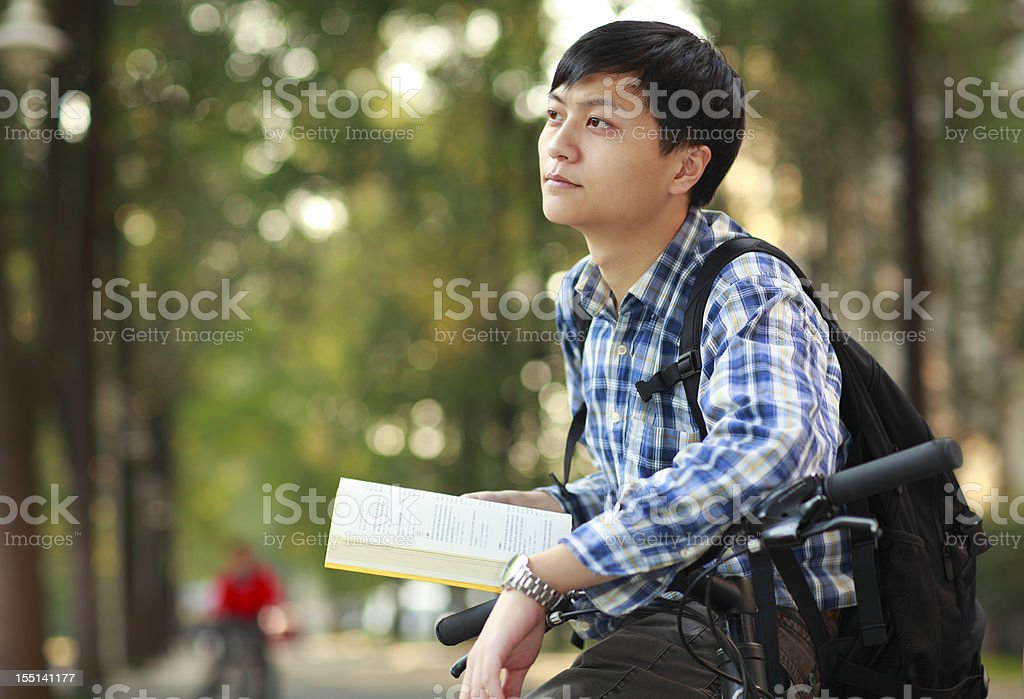 daydreaming in campus royalty-free stock photo