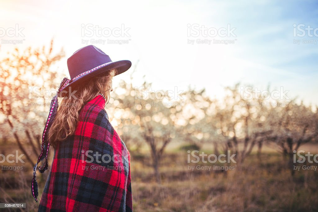 Daydreaming in sunset! stock photo