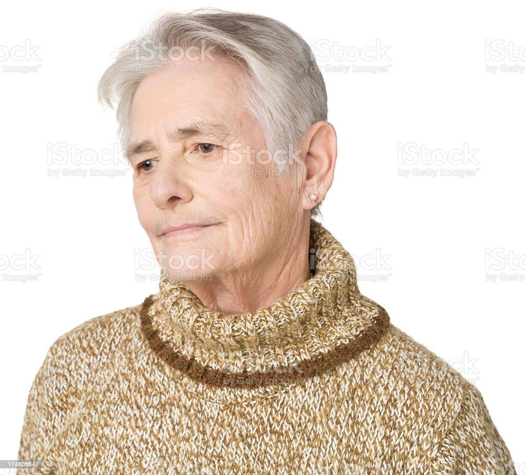 Daydreaming Senior Woman Looking Away royalty-free stock photo