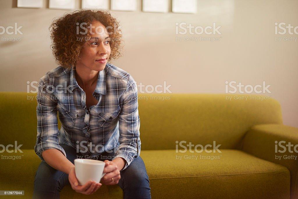 daydreaming woman stock photo