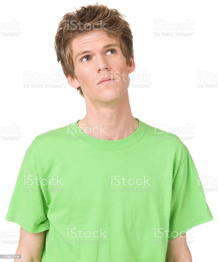 Daydreaming Young Man Looking Up royalty-free stock photo