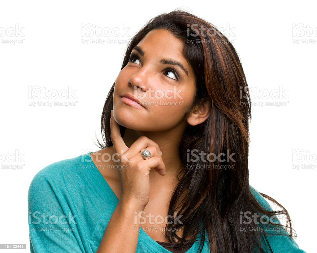 Daydreaming Young Woman Thinking, Looking Away stock photo