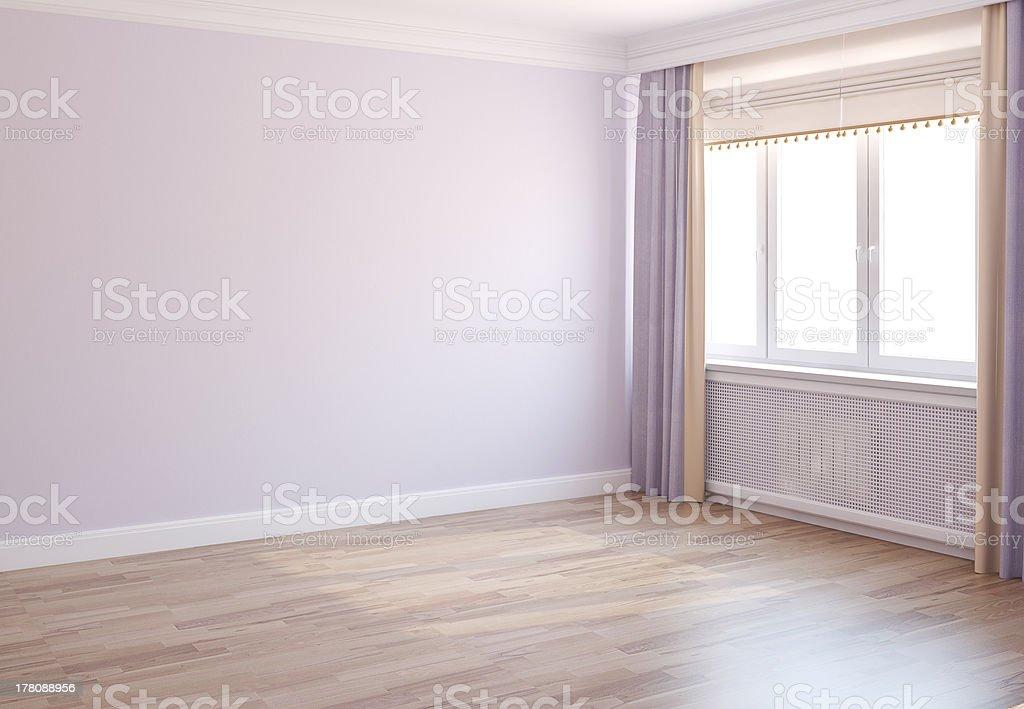Daylight illuminates an empty room ready to be furnished royalty-free stock photo