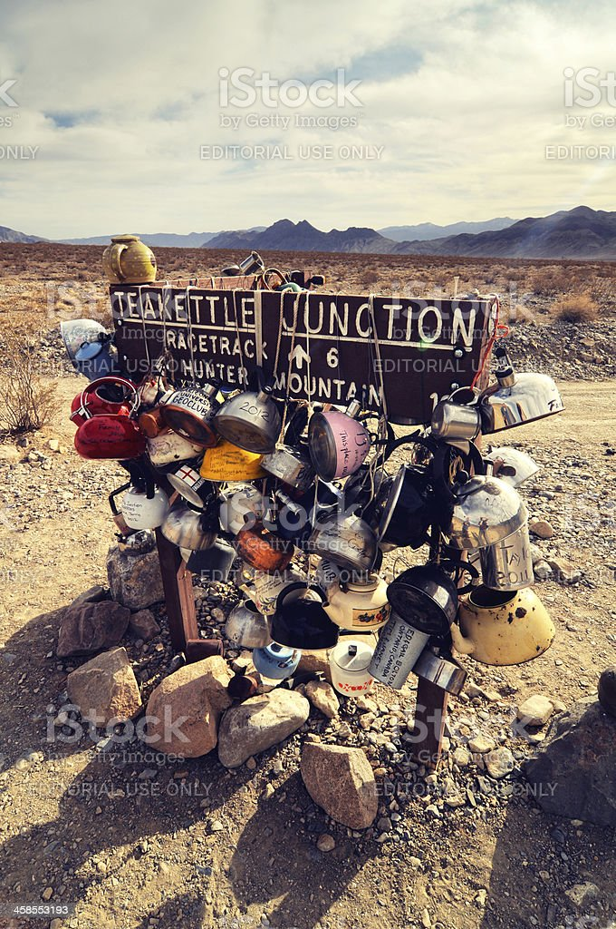 Daylight landscape at Teakettle Junction, Death Valley, USA royalty-free stock photo