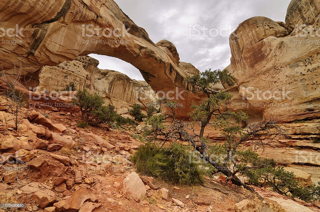 Daylight landscape with Hickman Natural Bridge in Capitol Reef royalty-free stock photo