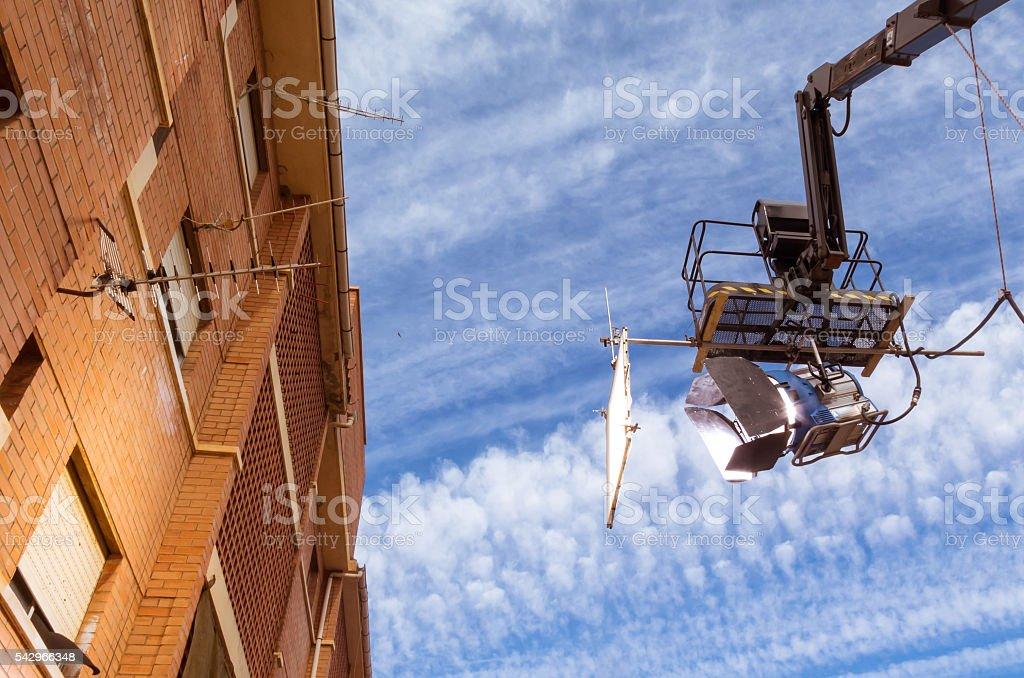 HMI daylight projector hanging IV stock photo